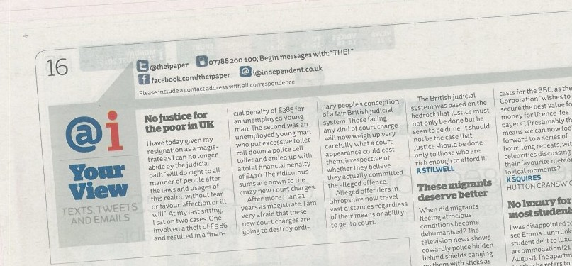 """Magistrate resigns """"No Justice for poor in UK"""""""